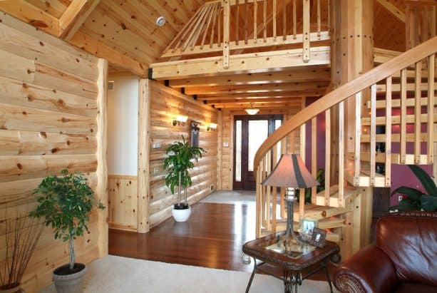 rustic interior with pine T&G decking
