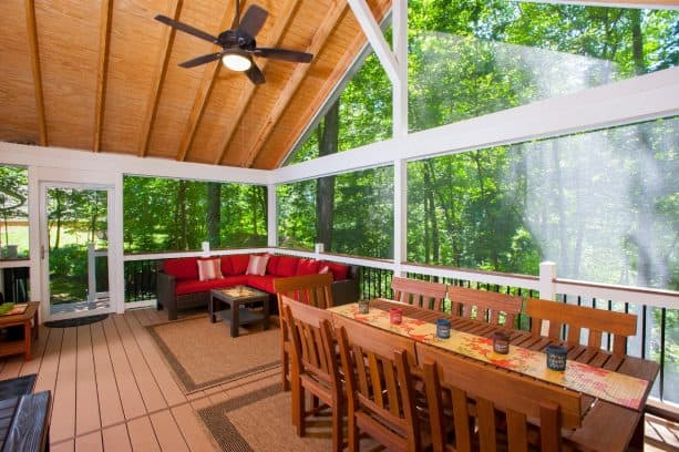the use of tongue and groove roof deck in a screened porch