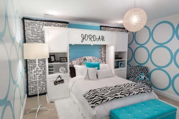 white, black, and turquoise bedroom color scheme