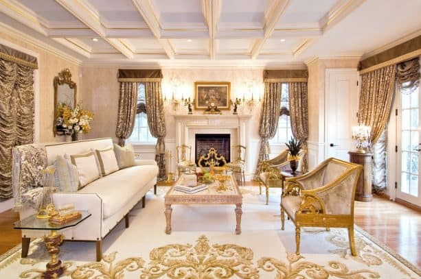 elegant-patterned white and gold rug in a luxurious traditional living room