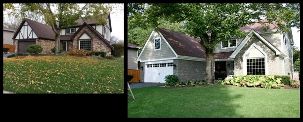 brick house exterior makeover with staining