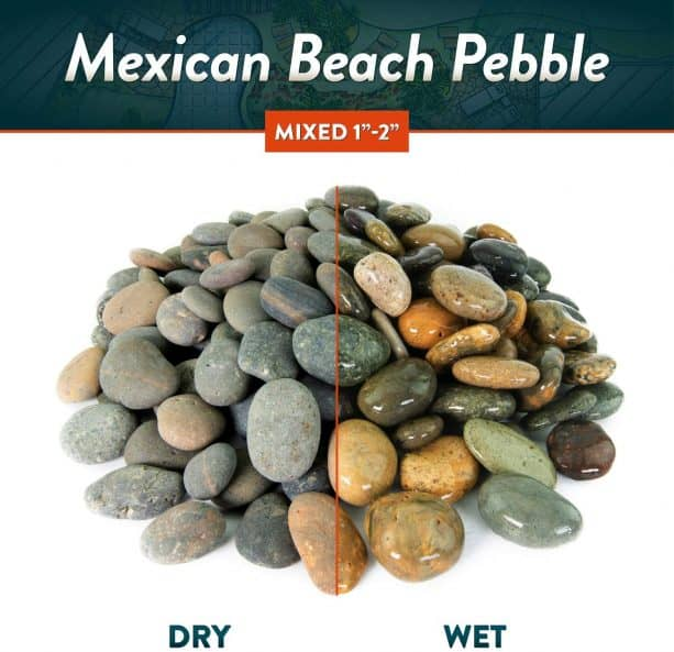 """mixed 1"""" – 2"""" Mexican beach pebbles in dry and wet look"""