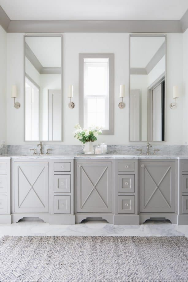 a transitional bathroom with white walls, grey trim, and grey vanity