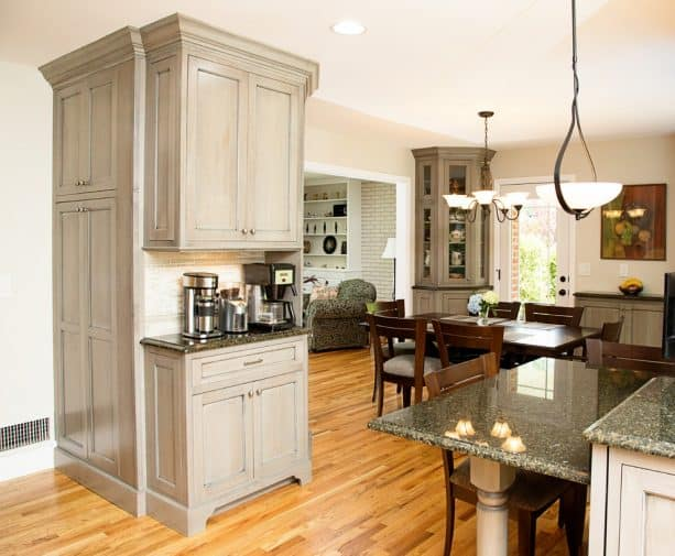 custom free-standing cabinets for a split-level kitchen remodeling