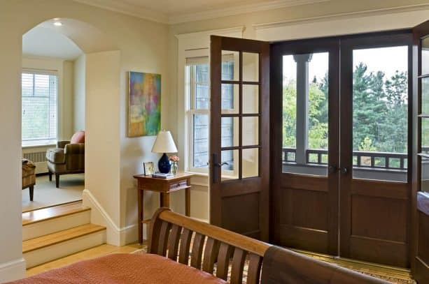 custom mahogany doors with white trim
