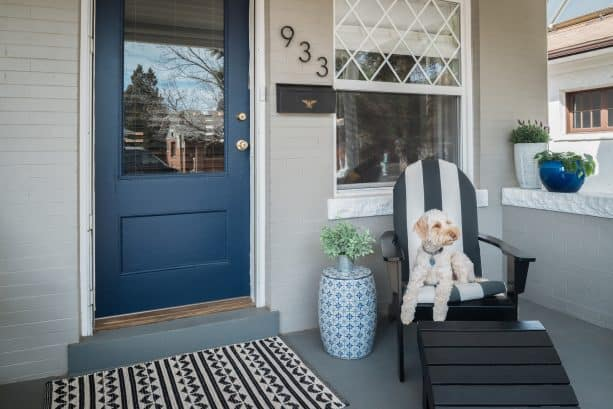 eclectic front door with Sherwin Williams Naval paint