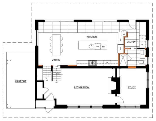 the floor plan after the remodeling