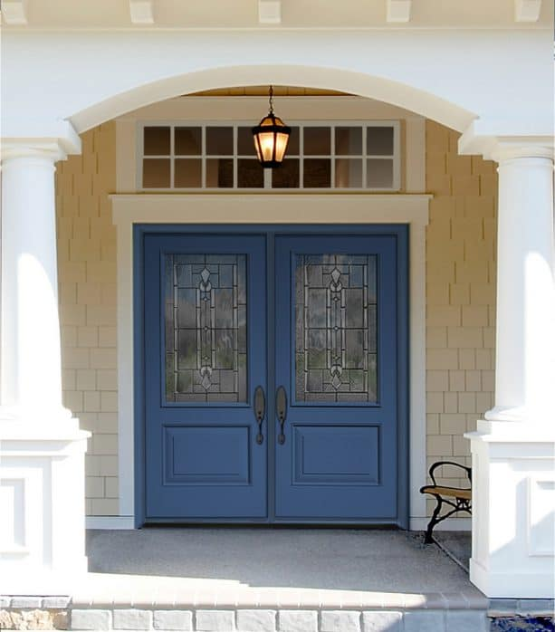traditional double front door with Benjamin Moore Blueberry Hill paint