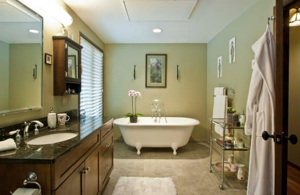 calming sage green bathroom design