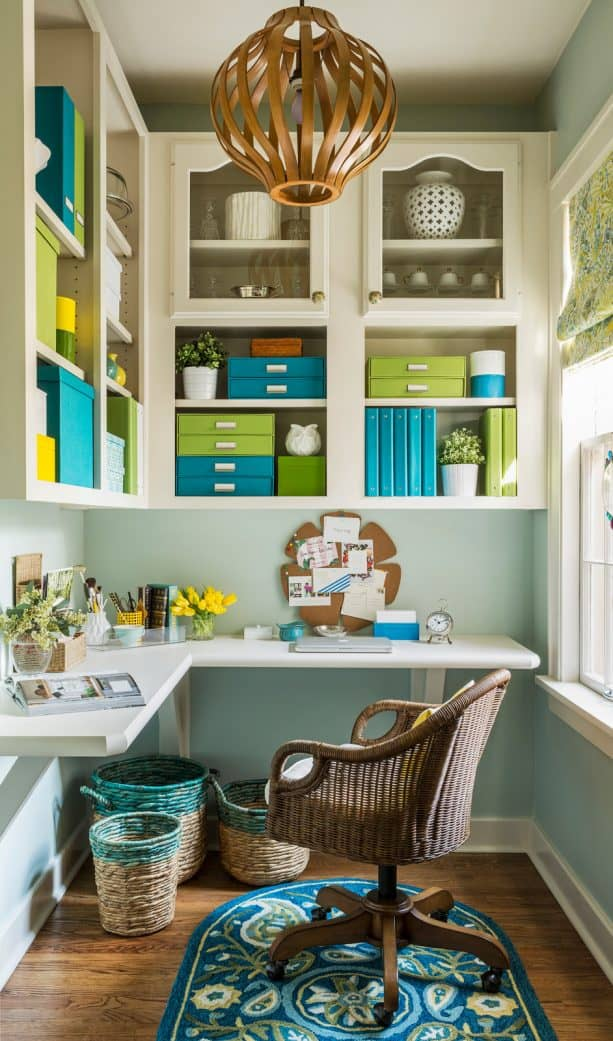 energizing home office with sage green, lime green, and Tosca color scheme