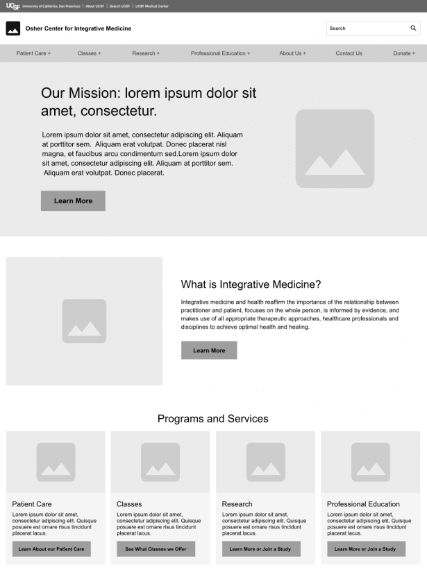 Wireframes for UCSF Osher