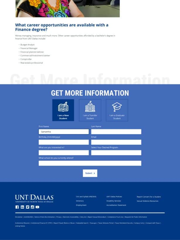 UNT Dallas Form