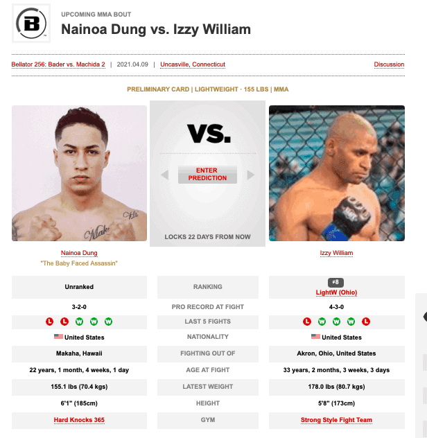 Nainoa DUng upcoming fight with Izzy William