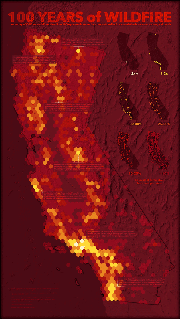 "John Nelson is well known for his creative cartographic visualizations. One of his latest works is the ""100 Years of Wildfire"". The effort behind this map can be explored on two Esri blog posts: 100 Years of Wildfire: GIS-ification and 100 Years of Wildfire: Cartograph-izing."