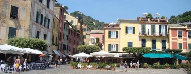 The main piazza in Portofino, Liguria, Italy