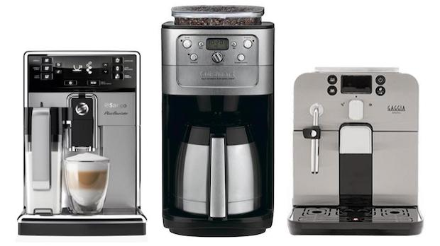 Three grind and brew coffee makers