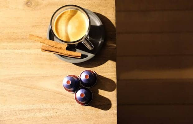 Nespresso and capsules on a table