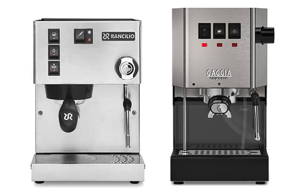 Rancilio Silvia on the left and Gaggia Classic Pro on the right