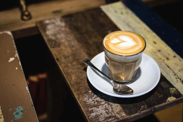 Caffe latte in a glass cup