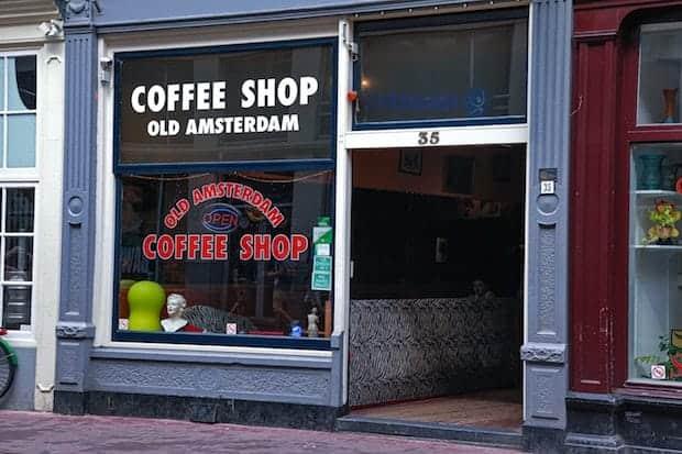 Window of a coffee shop in Amsterdam
