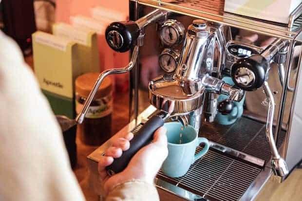 Barista pulling an espresso shot