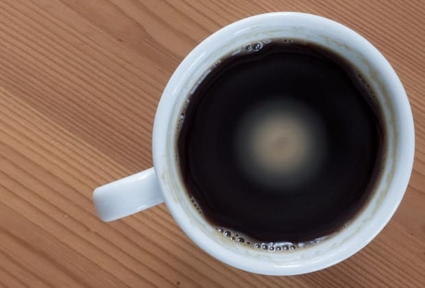 A cup of over-extracted coffee