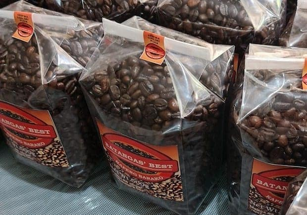Bags of Bantagas' Best Kapeng Barako coffee beans, ready for sale