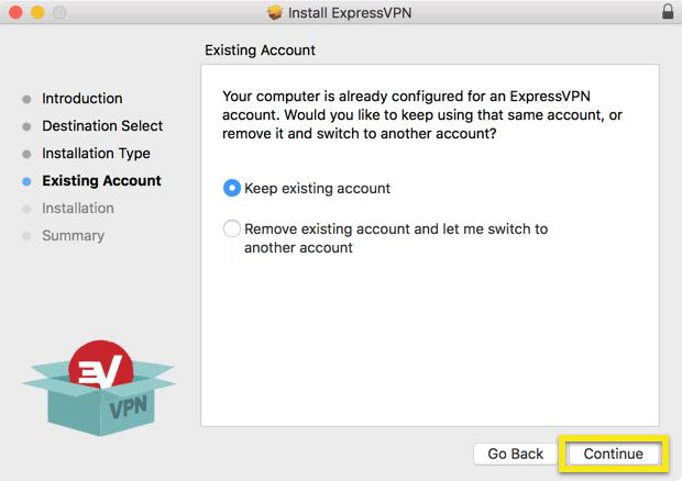 Bestaand account scherm met Doorgaan button gemarkeerd.