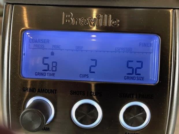 Control screen on Breville Smart Grinder Pro