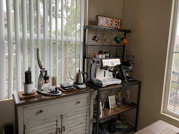 Slightly rustic home coffee station