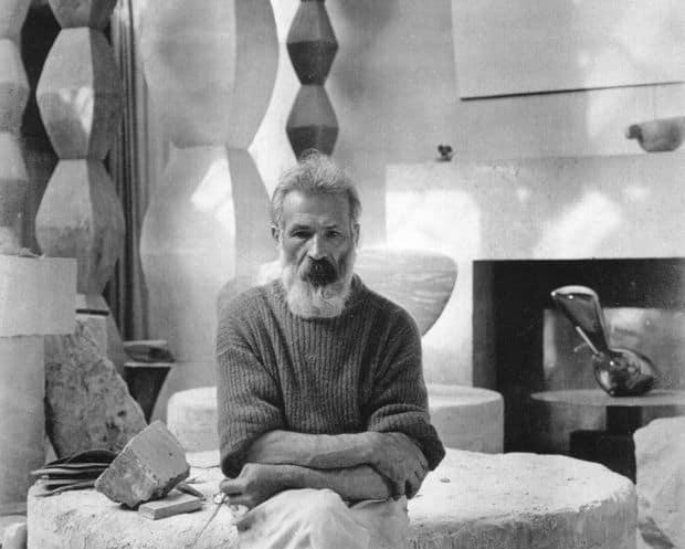 Constantin Brancusi in his studio