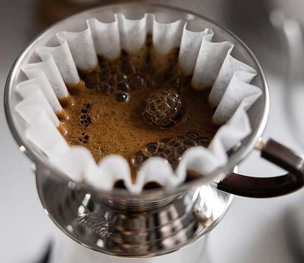 Closeup of pour over coffee brewig