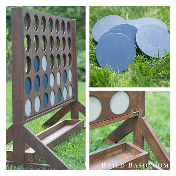 diy connect four game for. yard with white and blue discs