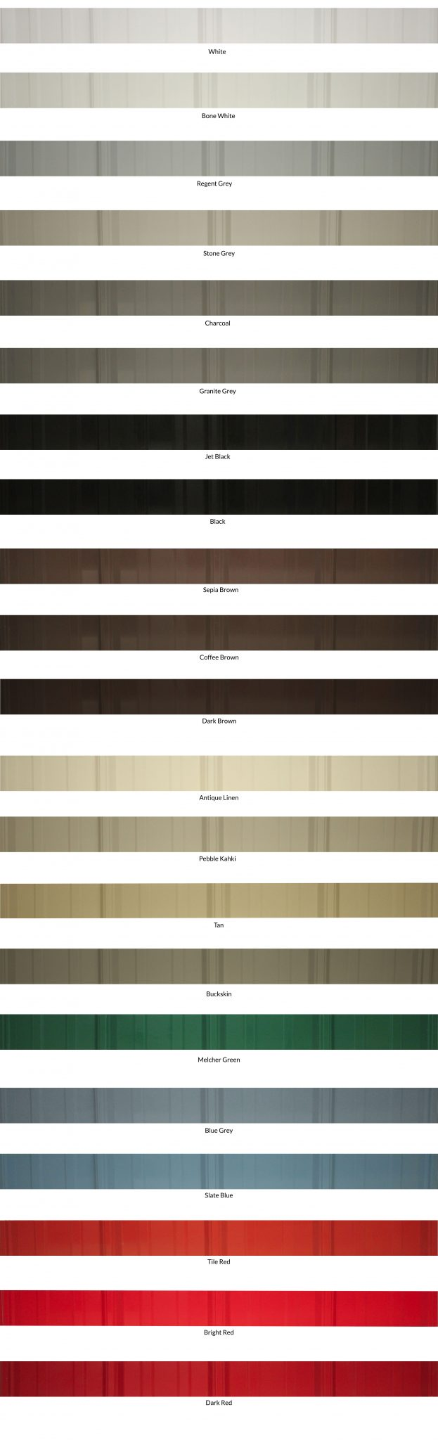 Wiseline Tuff Rib Metal Roofing Colour Collection