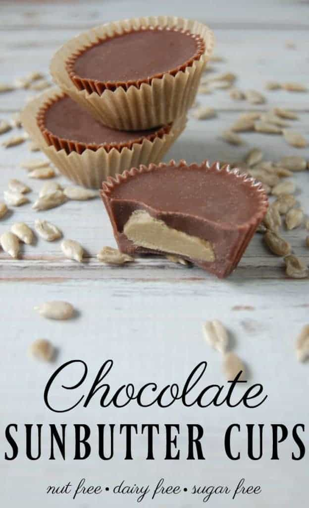 Wish there was a healthier nut free, dairy free alternative to peanut butter cups? Well, here you go! These delicious chocolate sunbutter cups contain just 4 ingredients and they are a perfect healthy indulgence! #chocolate #sunbutter #peanutbuttercups #sunbuttercups #nutfree #dairyfree #sugarfree