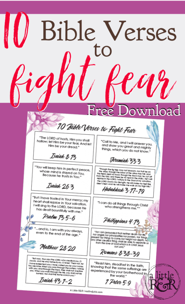 Printable sheet of 10 Bible verses to fight fear