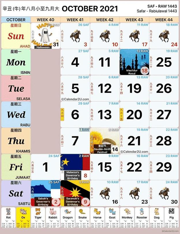 Kalendar Oktober 2021
