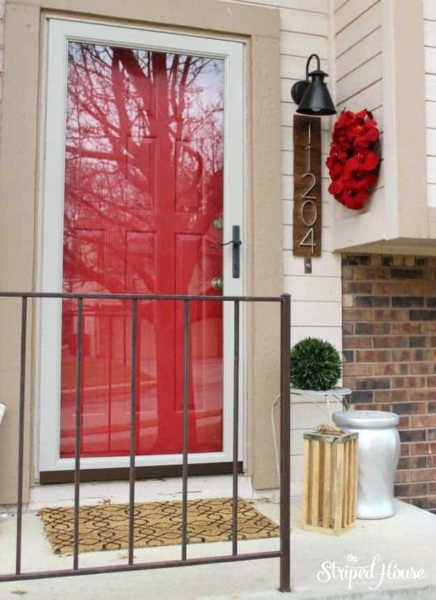 The Striped House - DIY Contemporary House Numbers porch