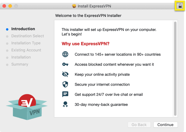 Click the lock icon in the top-right corner of the installer.