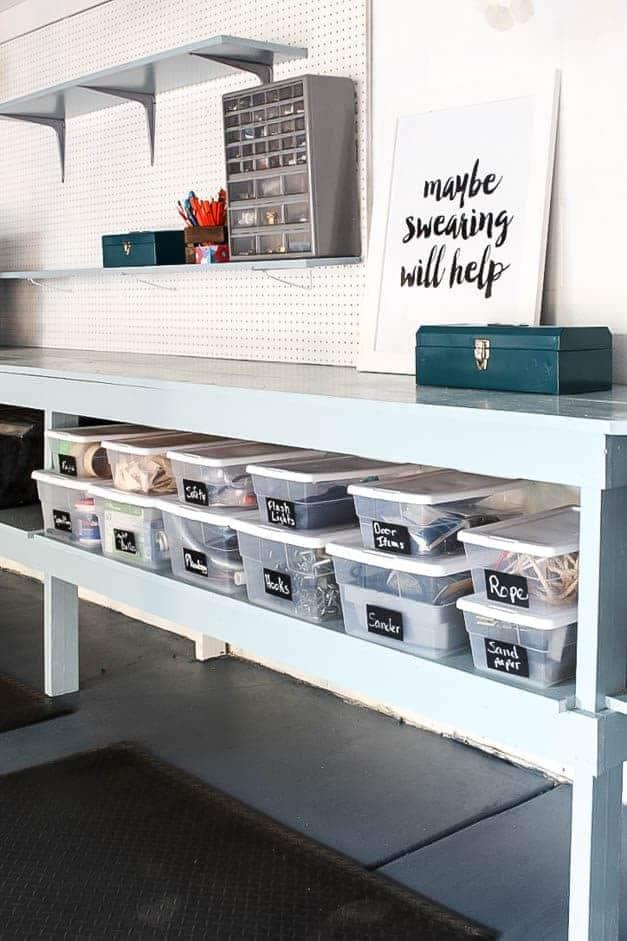 garage-makeover-plastic-storage-work-bench-one-room-challenge-the-striped-house
