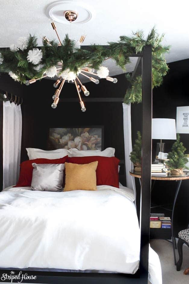 modern traditional eclectic, black and white bedroom, christmas home tour