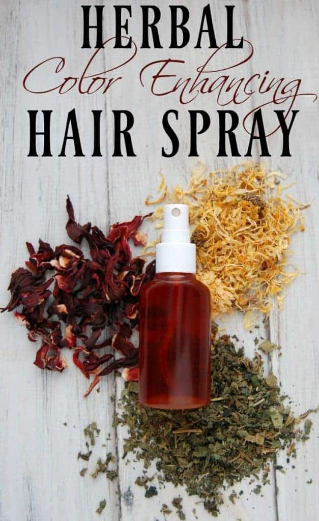 Herbal Color Enhancing Hair Spray - I use hair spray almost every day on my hair and with the help of herbs, I can give my hair a slow and subtle boost in color. #hairspray #hair #herbal #colorenhancing