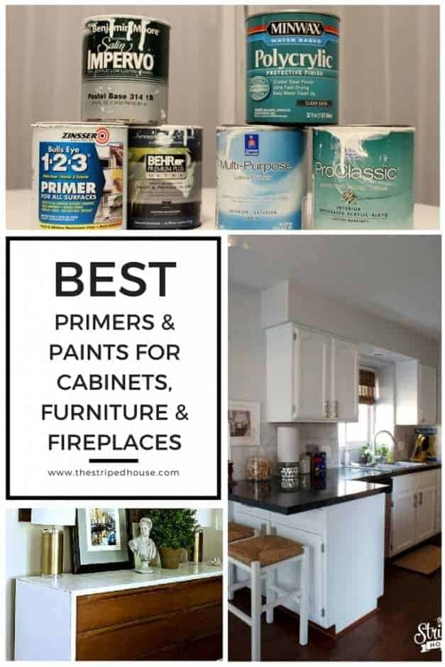 Looking for the best primers and paints for cabinets, furniture & fireplaces? Here are a list of my favorites and when I used them to get beautiful, professional looking results.