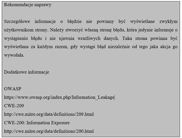 przykładowa rekomendacja dotycząca błędu polegającego na wyświetlaniu szczegółowych informacji o błędzie