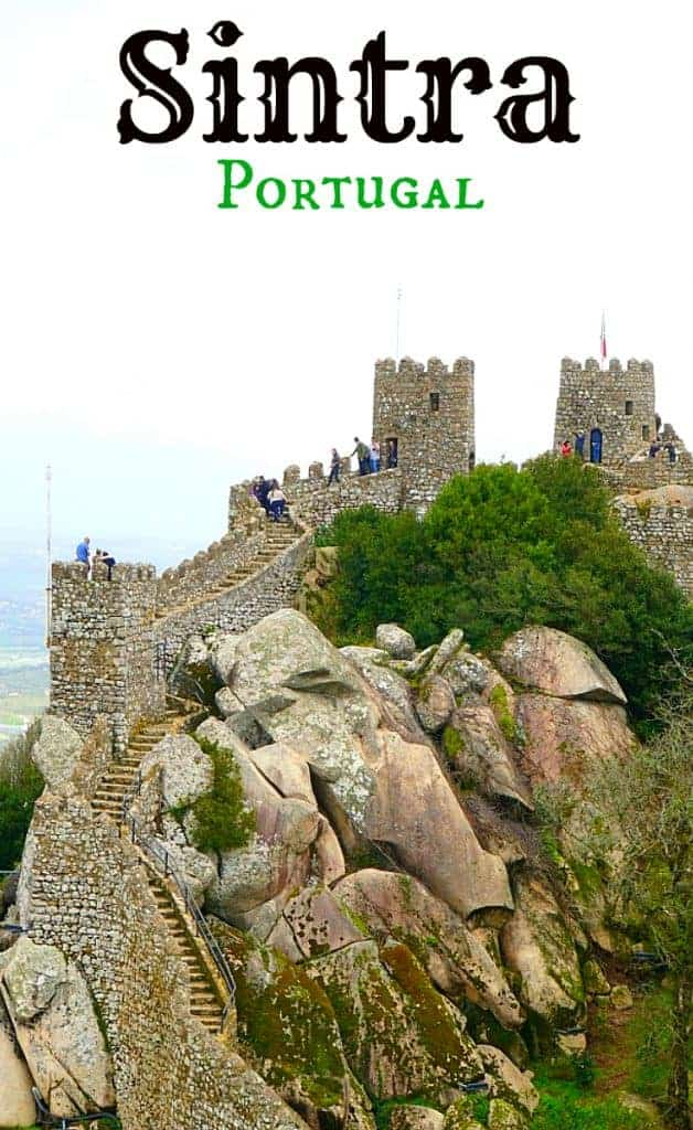 Old stone caste on a hill, Sintra Portugal Castle of the Moors
