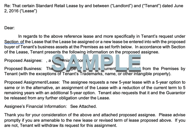 REQUEST FOR LEASE ASSIGNMENT FORM