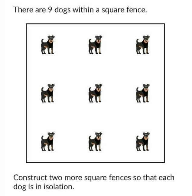 There Are 9 Dogs Within A Square Fence Puzzle
