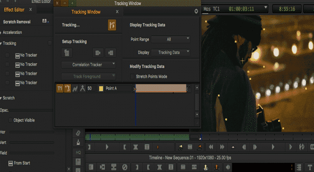 image of effects and tracking windows of avid media composer