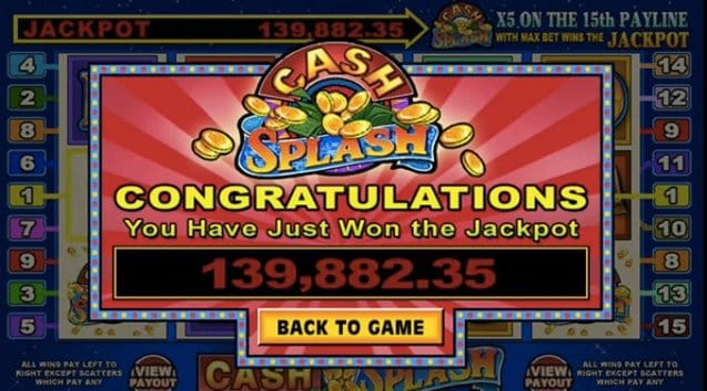 Cash Splash slot game - win up to $10,000,000 in progressive jackpot