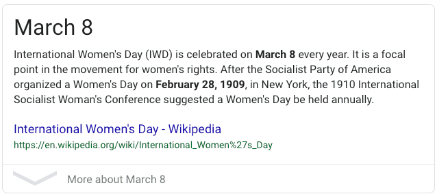 8th march international women's day